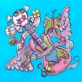 Tattoo, Guitar, Turquoise by Oopsy daisy