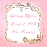 Vintage Birth Announcement, Pink by Oopsy daisy