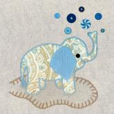 Vintage Elephant, Blue by Oopsy daisy