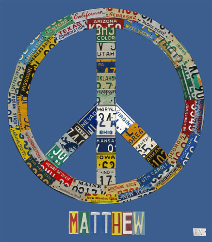 Peace License Plate in Blue by Oopsy daisy Thumbnail 1