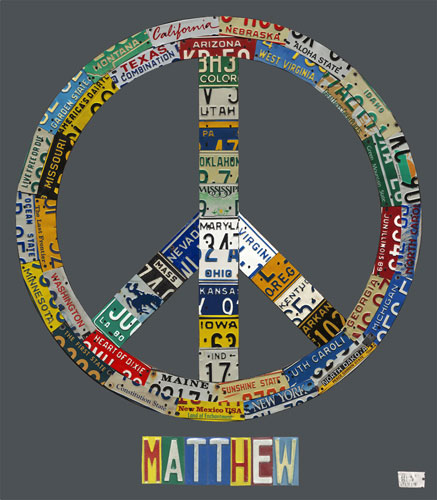 Peace License Plate in Gray by Oopsy daisy Thumbnail 1