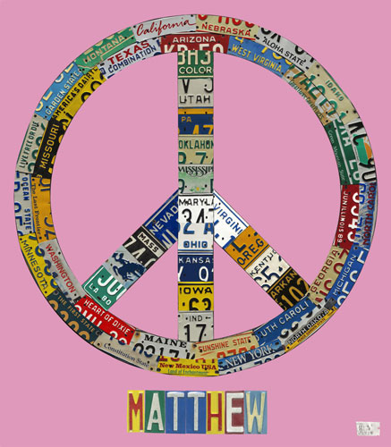 Peace License Plate in Pink by Oopsy daisy Thumbnail 1