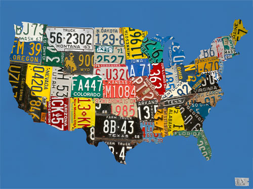 License Plate USA Map Blue by Oopsy daisy