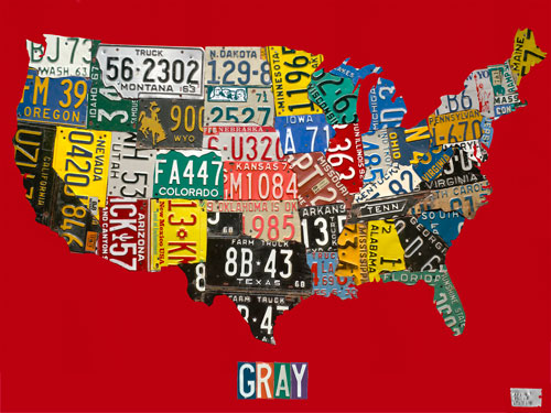 License Plate USA Map, Red by Oopsy daisy Thumbnail 1