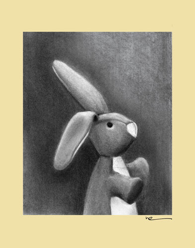 Charcoal Bunny - Yellow Border by Oopsy daisy
