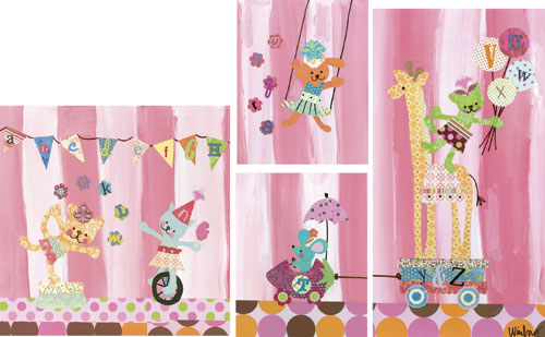 Cotton Candy Alphabet Circus (set of canvases) by Oopsy daisy