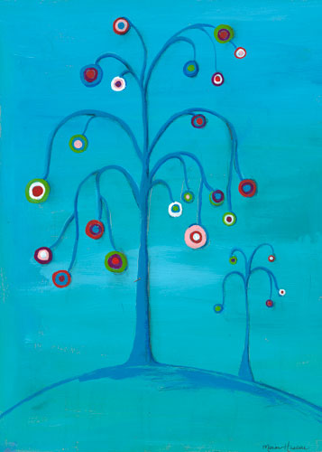 Double Bubble Tree on Blue by Oopsy daisy
