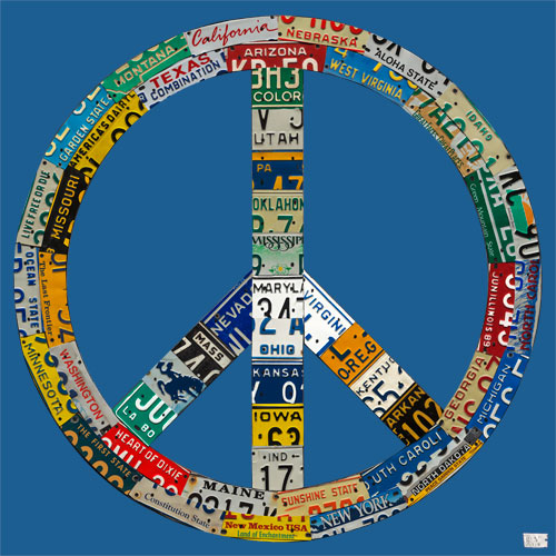Peace License Plate in Blue by Oopsy daisy Thumbnail