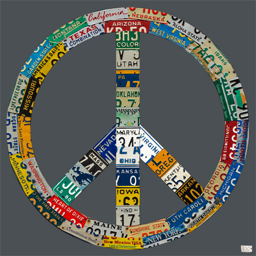 Peace License Plate in Gray by Oopsy daisy Thumbnail
