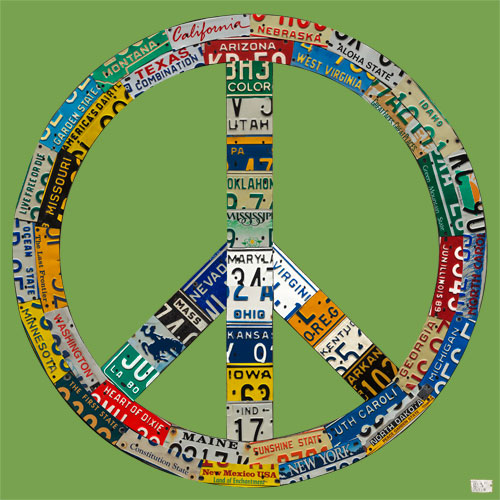 Peace License Plate in Green by Oopsy daisy Thumbnail