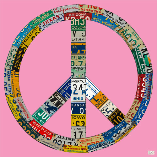 Peace License Plate in Pink by Oopsy daisy Thumbnail