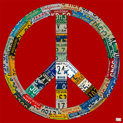 Peace License Plate in Red by Oopsy daisy Thumbnail