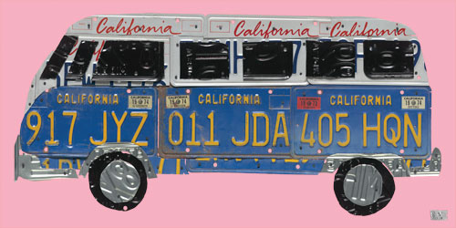 License Plate Road Trip in Pink by Oopsy daisy