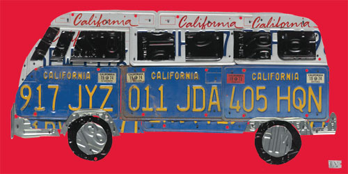 License Plate Road Trip in Red by Oopsy daisy