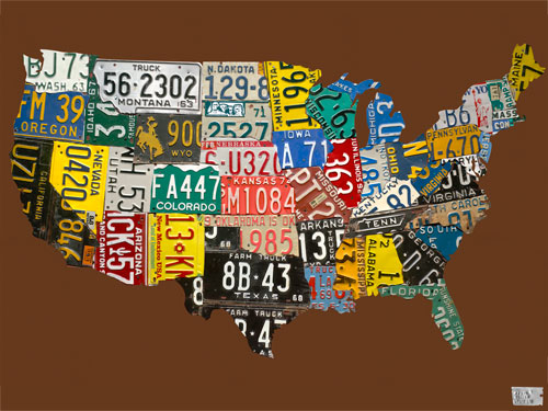 License Plate USA Map, Chocolate by Oopsy daisy