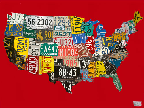 License Plate USA Map, Red by Oopsy daisy Thumbnail