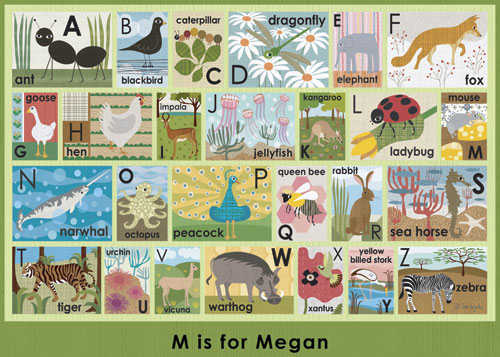 Modern Alphabet on Green by Oopsy daisy, Personalized