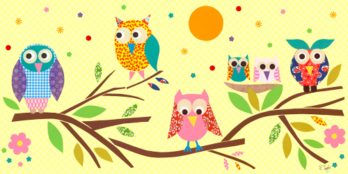 Owls on Branch by Oopsy daisy