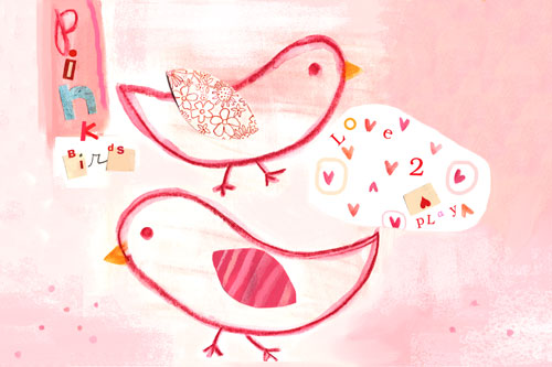 Pink Birdies by Oopsy daisy
