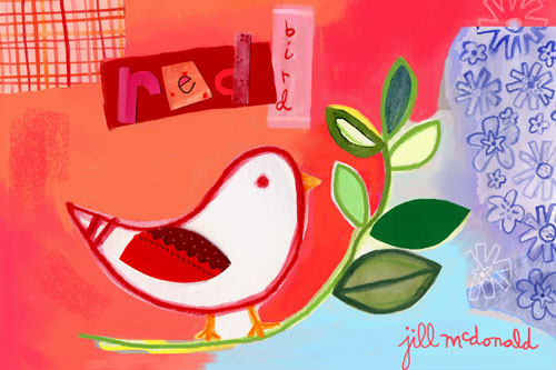 Red Bird by Oopsy daisy