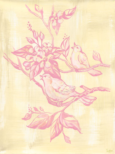 Toile Birdies in Cream & Pink by Oopsy daisy