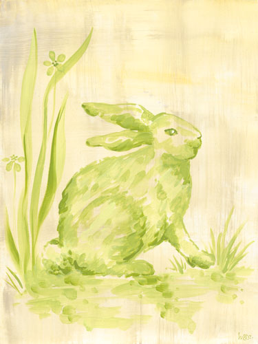 Toile Bunny in Cream & Green by Oopsy daisy