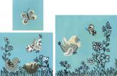 Black and White Birdies Turquoise (set of canvases) by Oopsy daisy