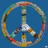 Peace License Plate in Blue by Oopsy daisy