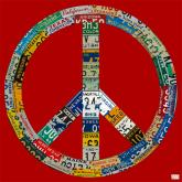 Peace License Plate in Red by Oopsy daisy