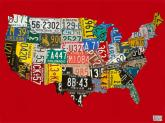 License Plate USA Map, Red by Oopsy daisy