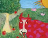 Red Cow by Oopsy daisy