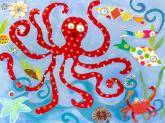 Red Octopus by Oopsy daisy
