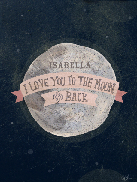 I Love You To The Moon - Pink by Oopsy daisy Thumbnail 1
