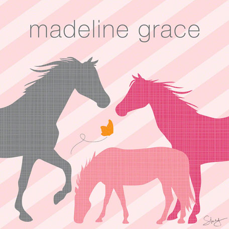 Modern Horses - Pink by Oopsy daisy Thumbnail 1