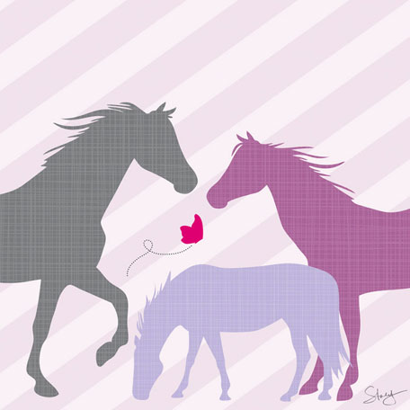 Modern Horses - Purple by Oopsy daisy Thumbnail 1