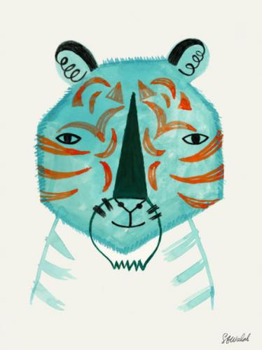 Blue Tiger by Oopsy daisy