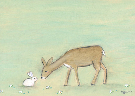 Bunny And The Deer by Oopsy daisy