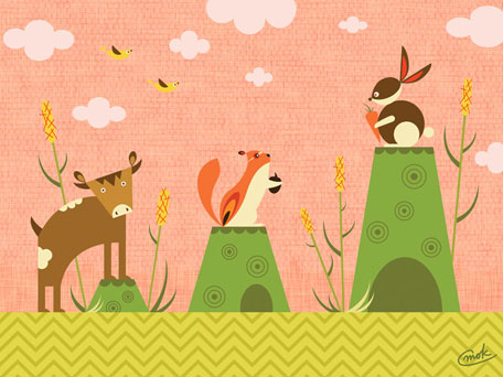 Cattails and Critters - Coral by Oopsy daisy