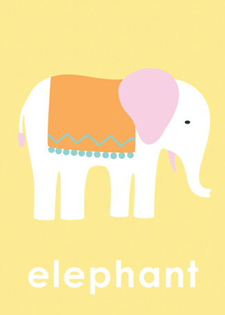 Lovely Elephant- Yellow by Oopsy daisy