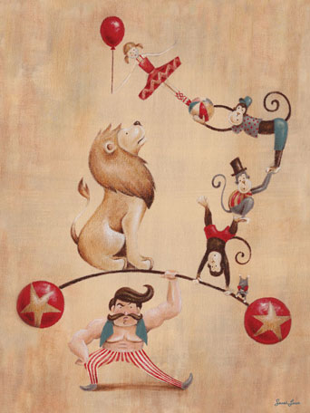 Vintage Circus Strong Man by Oopsy daisy