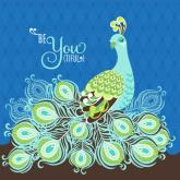 Be-YOU-tiful Peacock - Blue by Oopsy daisy