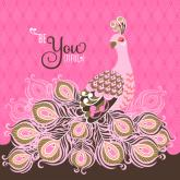 Be-YOU-tiful Peacock - Pink by Oopsy daisy