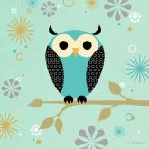 Blue Owl on a Branch by Oopsy daisy