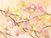 Cherry Blossom Birdies - Butter Cream by Oopsy daisy