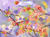 Cherry Blossom Birdies - Lavender & Coral by Oopsy daisy