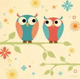 Coral and Blue Owls on a Branch by Oopsy daisy