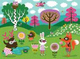 Funky Woodland Creatures - Girl by Oopsy daisy