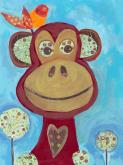 Monkey with Orange Bird by Oopsy daisy