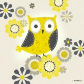 Yellow and Grey Owl by Oopsy daisy