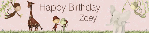 Girl's Jungle Theme Birthday Banner by Oopsy daisy